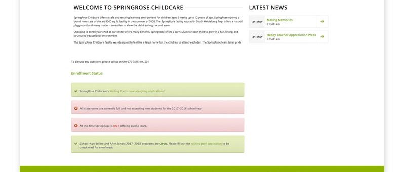 SpringRose Childcare Website Design